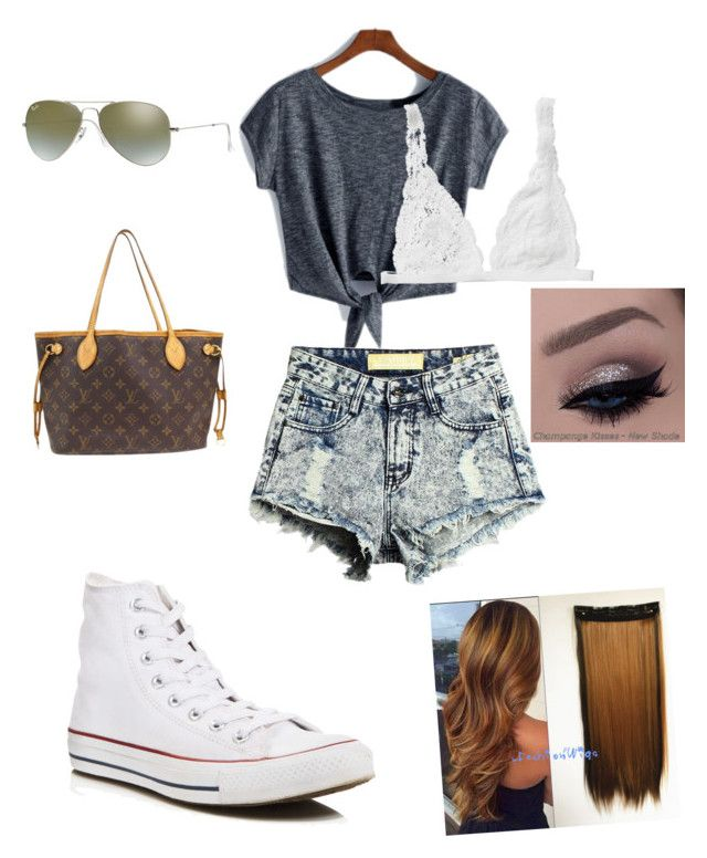 """Untitled #43"" by gracie-mccollough on Polyvore featuring Converse, Monki, Louis Vuitton and Ray-Ban"