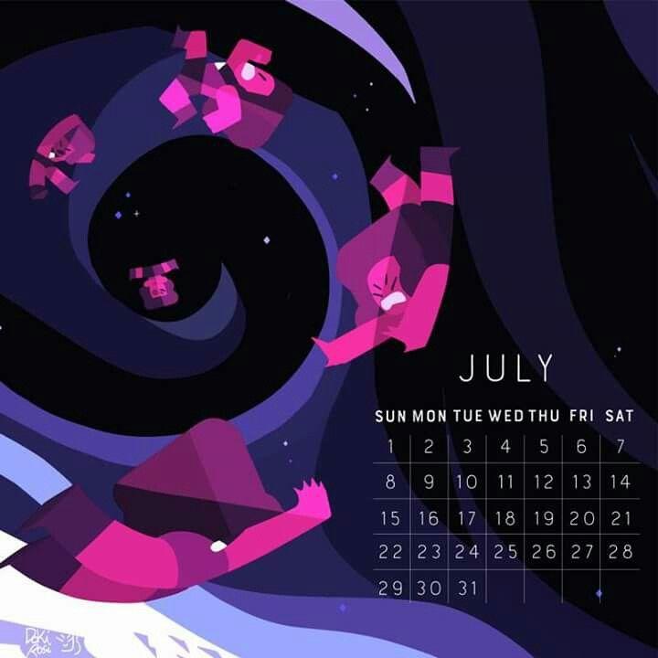 Calendario Julio Steven Universo Desenho Steven Universe Ilustrações