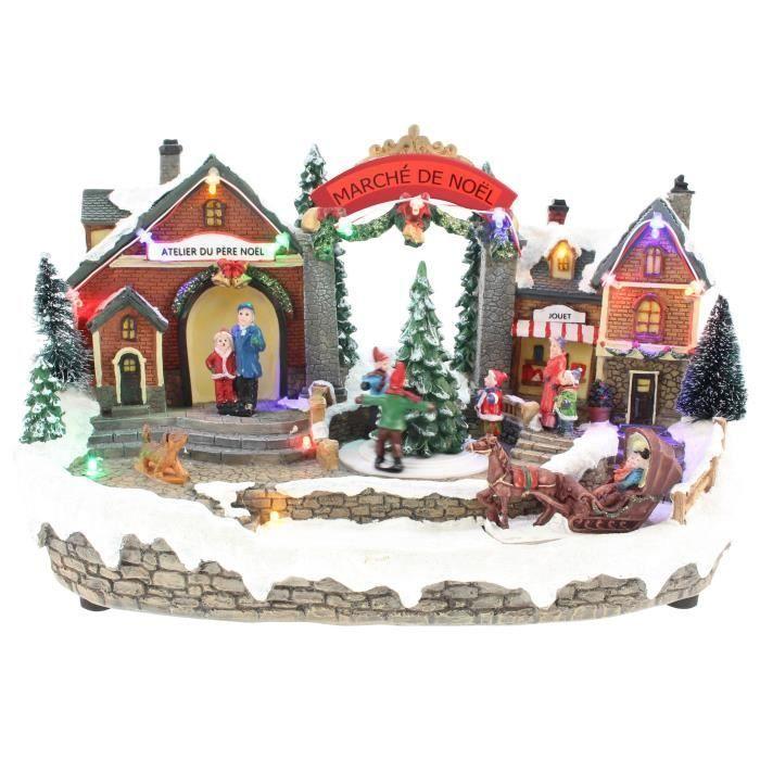 BLACHERE Scénette Marché de Noël 14 LED Multicolores - L 33,5 x I 18 x H 20 cm - Câble Noir 4,5V - Câble Noir #marchédenoel