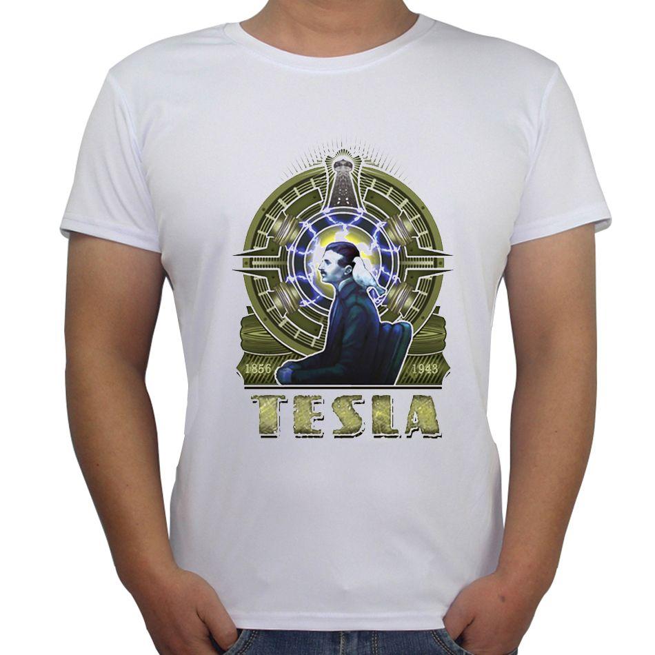 2407aa48 One Piece Customt Shirt Men T-shirt Spandex Short Sleeve Casual T Shirts  Nikola Tesla