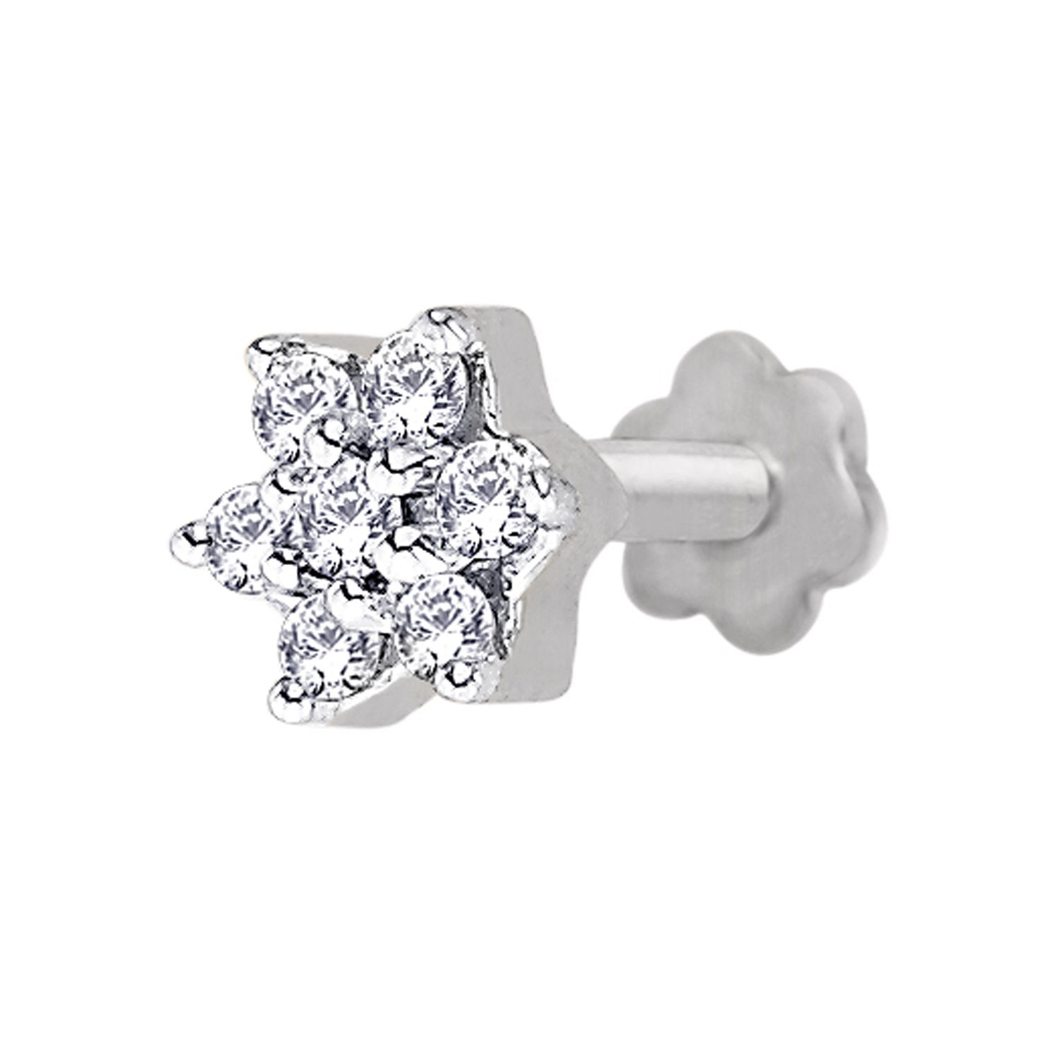 Solitaire Diamond Nose Pin 0 14ct Round Shape Natural Certified