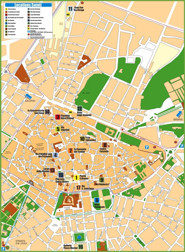 Lecce tourist attractions map Maps Pinterest Italy and City