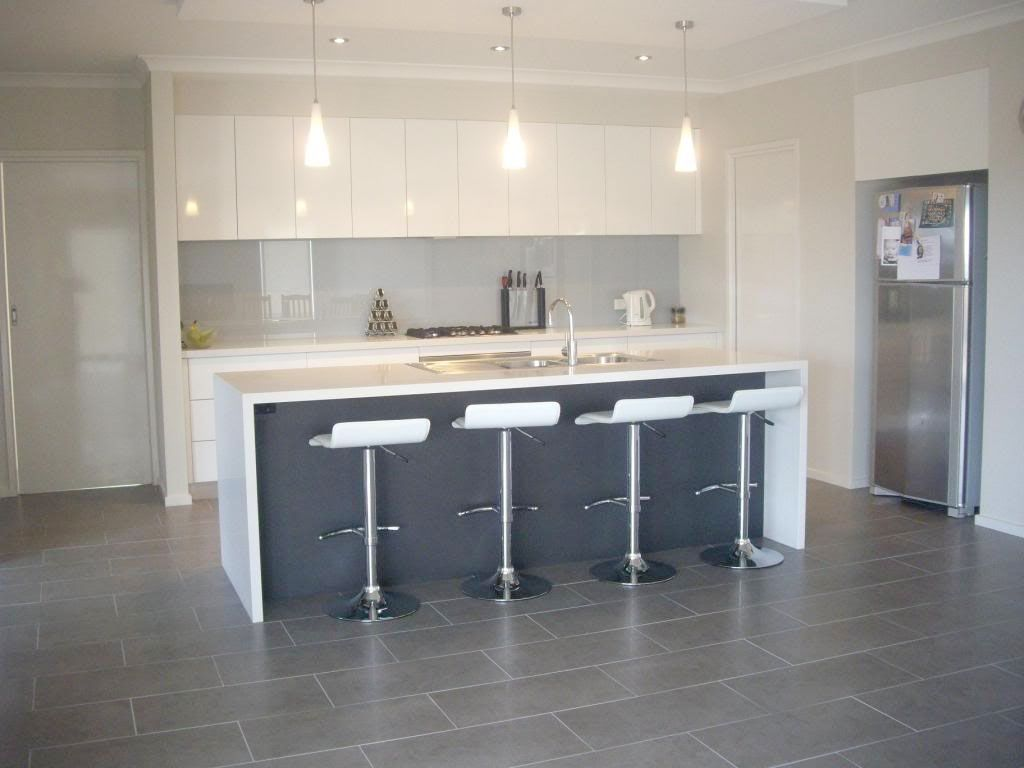 Contrasting Panel Under Waterfall Bench In Grey Tone   White Gloss Kitchen