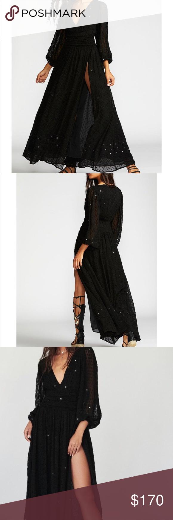 Nwt free people embellished lapis maxi dress xs nwt my posh picks