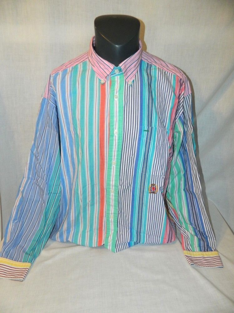 2c3902be7d VTG Tommy Hilfiger Mens Striped XL Multi-Color Long Sleeve Shirt Crest Retro  90s #TommyHilfiger #ButtonFront