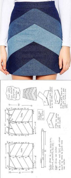 Saia jeans com recortes diagonais – DIY – molde 1ff40122f60