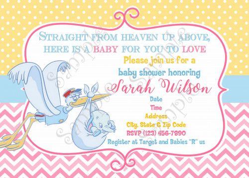 Dumbo Invitation Dumbo Baby Shower Invitation Dumbo Baby