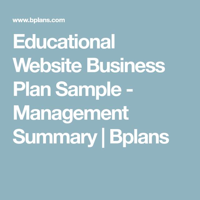 Educational Website Business Plan Sample  Management Summary