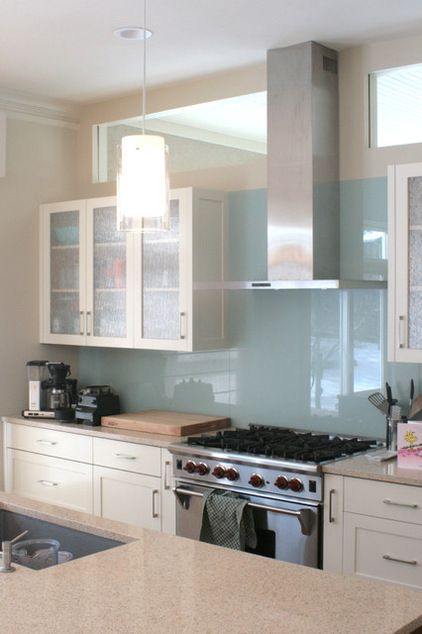 Transitional Kitchen By Rdm Architecture Glass Front Cabinets