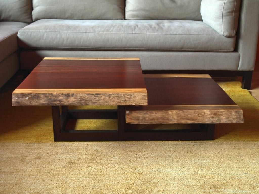 the live edge and clean lines of this two-tiered coffee table