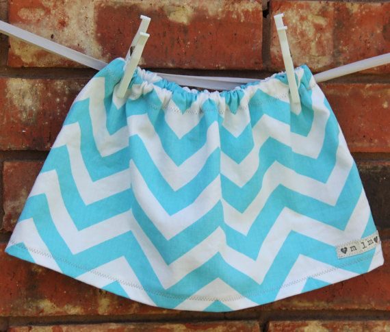 Chevron Stripe Toddler Skirt in Blue, Baby Girl Skirt, Handmade Skirt. $14.00, via Etsy.