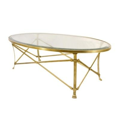 attractive natural brass oval coffee table. - 12mm clear glass