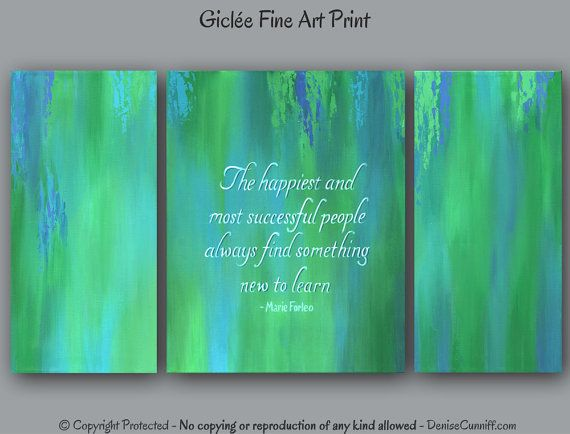 Teal Blue Green Office Wall Art Motivational Decor Canvas Quote Abstract