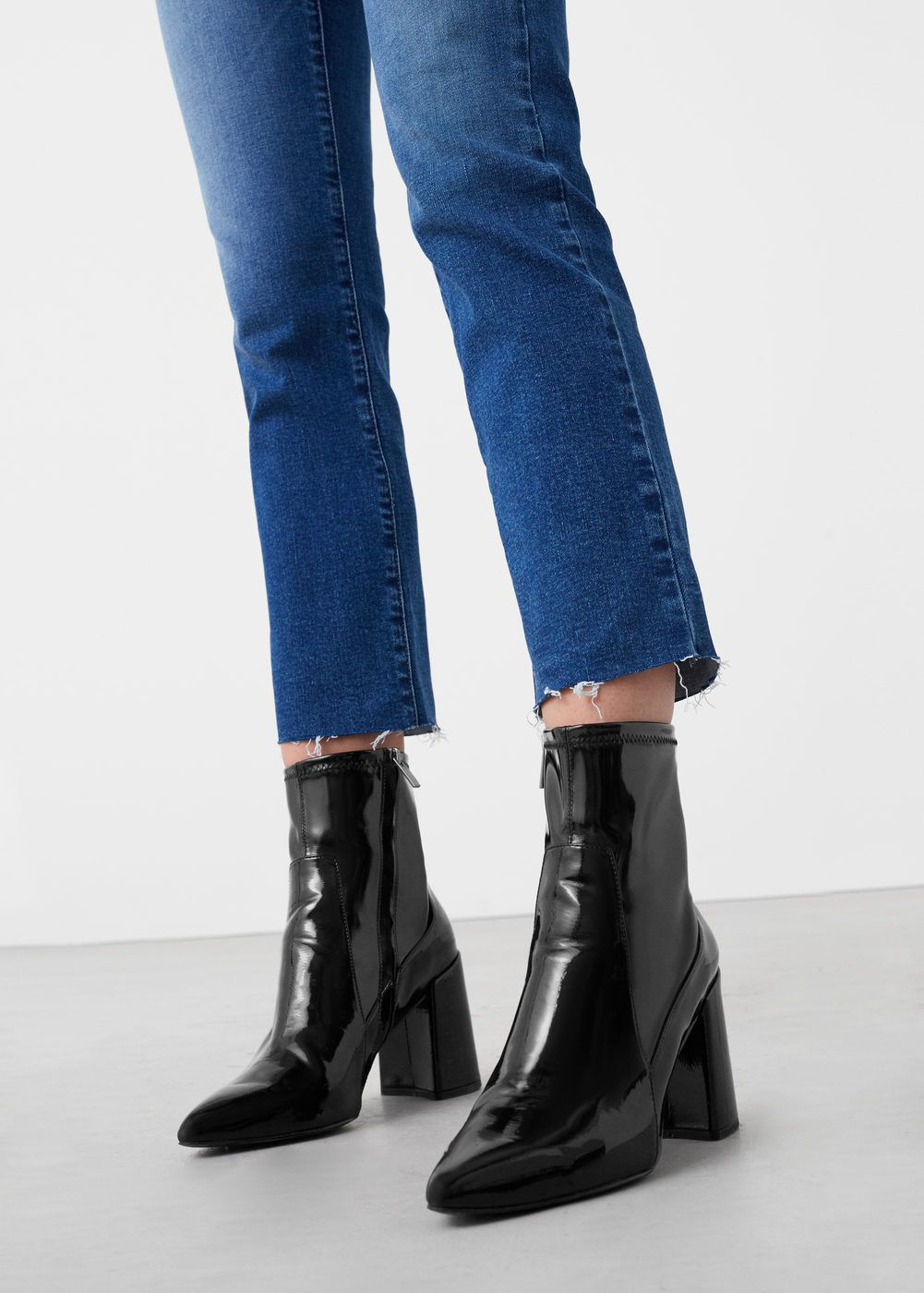 bottines vernies tige ajustée | bottines vernies, tiges et bottines