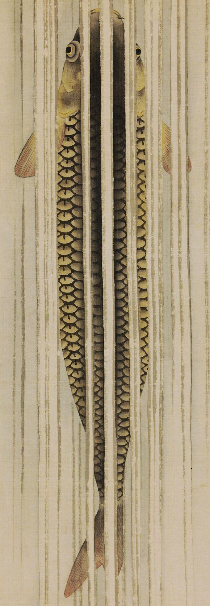 Detail. Carp ascending Waterfall. One of a pair of Japanese hanging scrolls. Suzuki Kiitsu 鈴木其一 . Rinpa School. Edo Period. 1820-1858. British Museum.