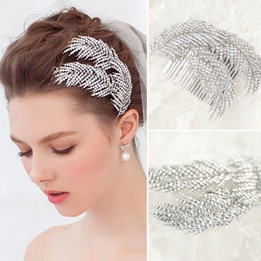crystal rhinestone wedding flower hair clip hair comb