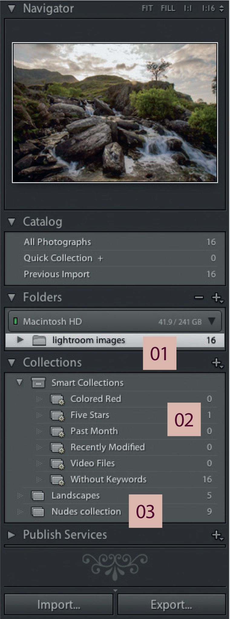 Adobe Lightroom Library Module: Folders and Collections
