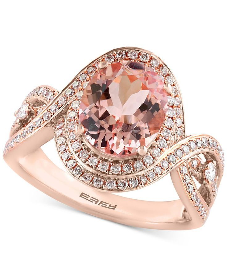 Blush by Effy Morgan  Blush by Effy Morganite (2-1/3 ct. t.w.) and Diamond (1/2 ct. t.w.) Ring in 14k Rose Gold