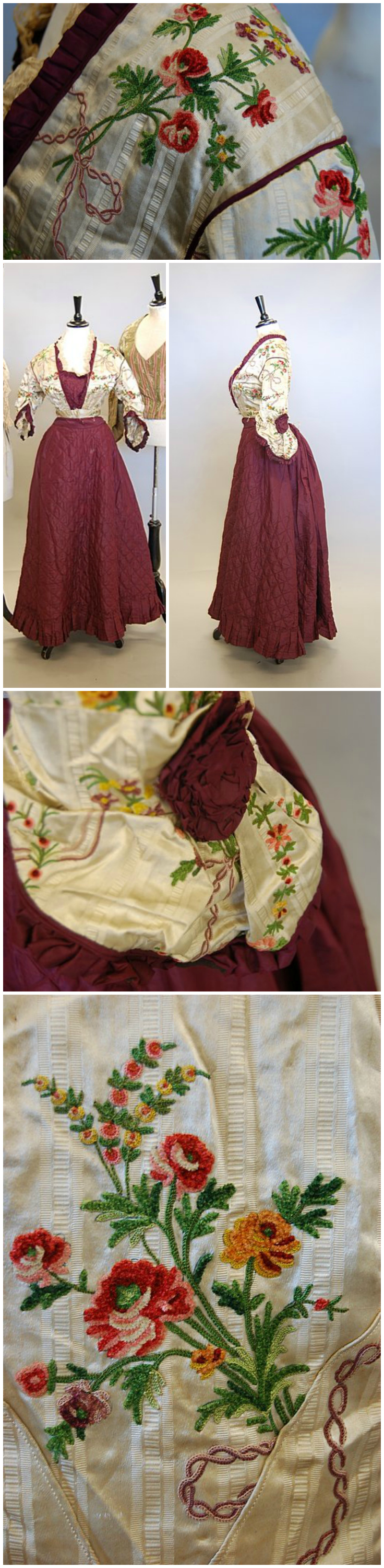 A mid 1860s fancy dress gown, the bodice of 1780s chenille ...