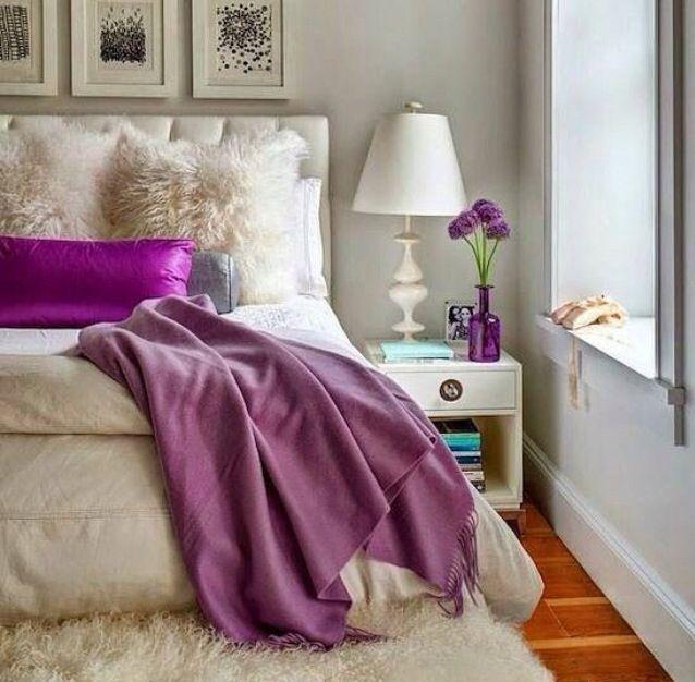 Bedroom Cream And Purple Decor Idea Apartment Decor Home Bedroom Color Schemes