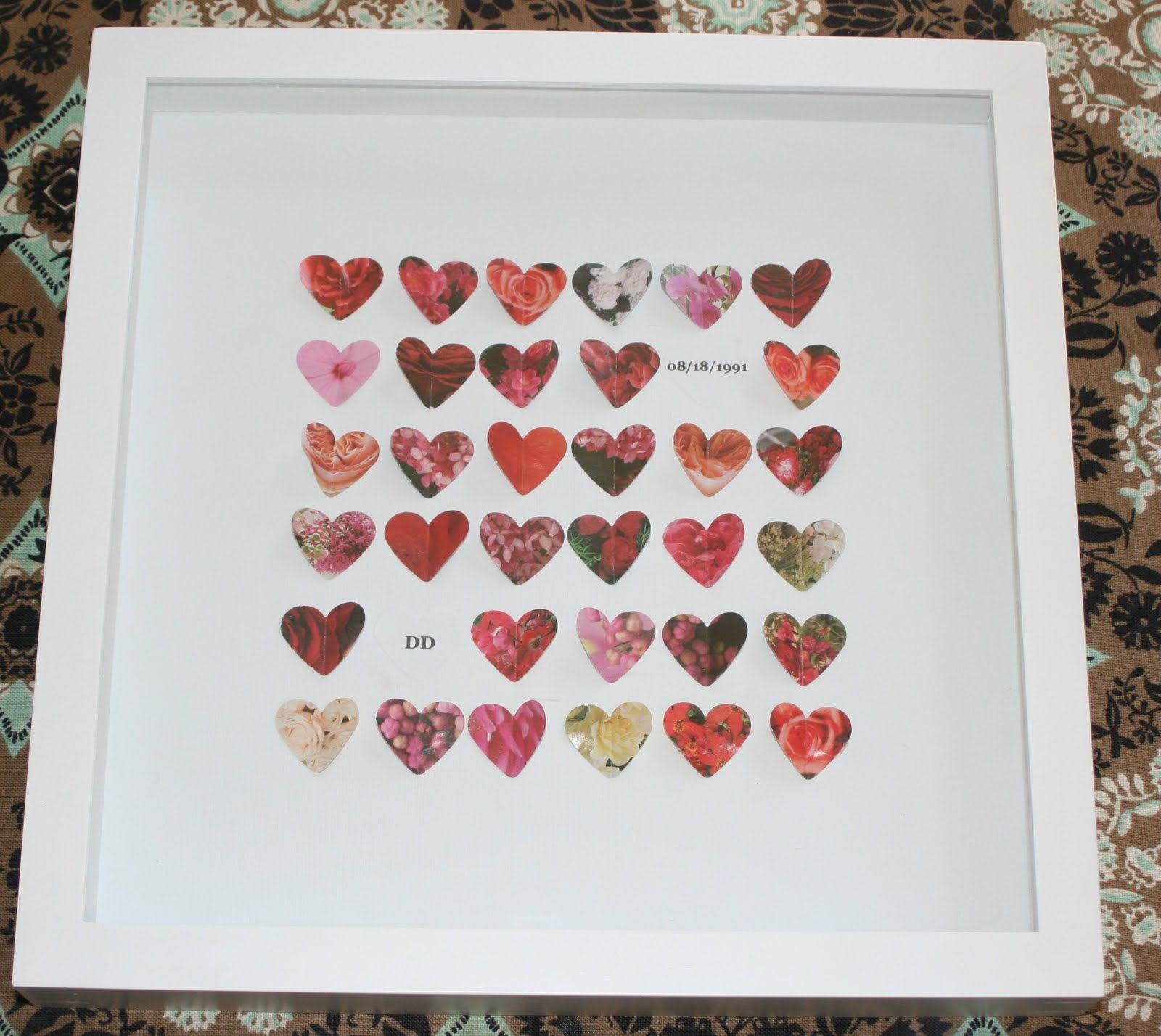 Handmade Wedding Gift Ideas: Homemade Anniversary Or Wedding Gift Frame With Hearts
