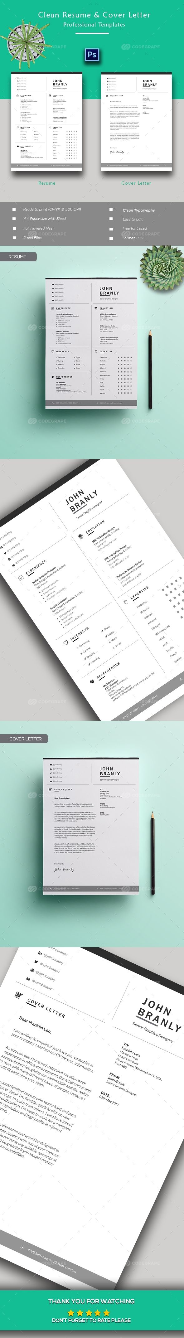 Creative Resume + Cover Letter Template Resume cover