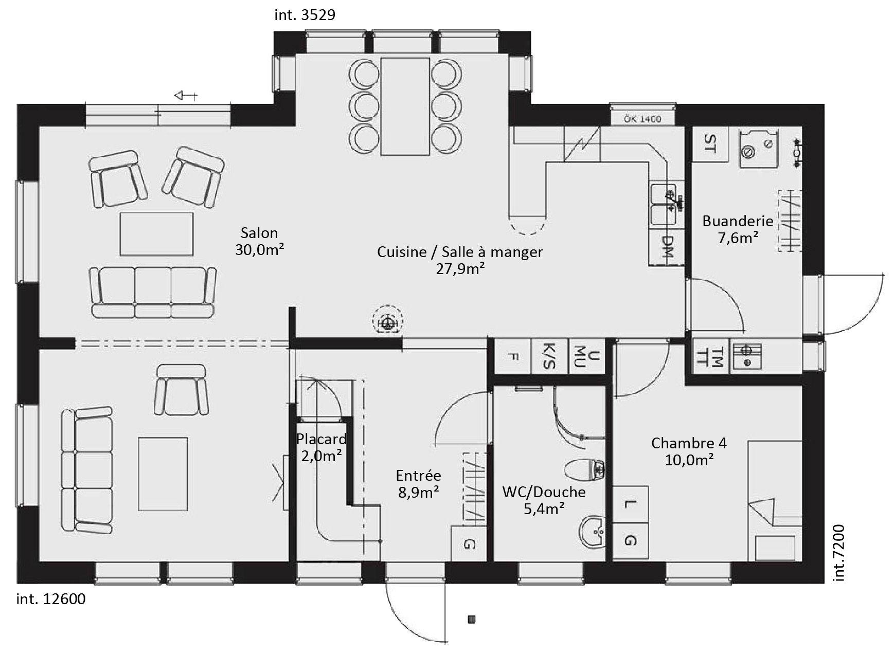 plan maison contemporaine plain pied 1000—819