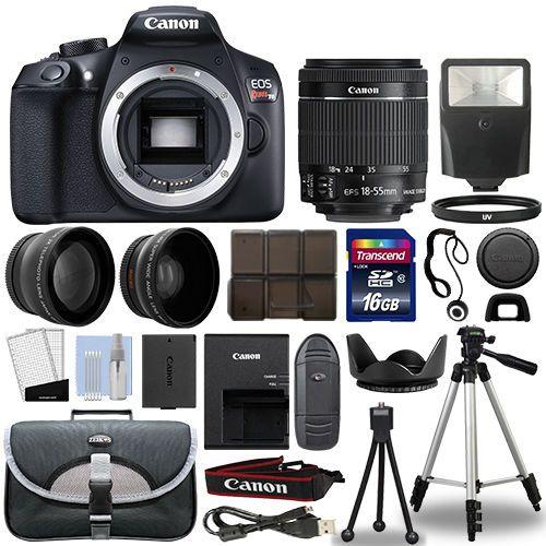 Canon T6 Digital Slr Camera 18 55mm Is Ii 3 Lens Kit 16gb Top Value Bundle Dslr Camera Digital Slr Camera Canon 1300d