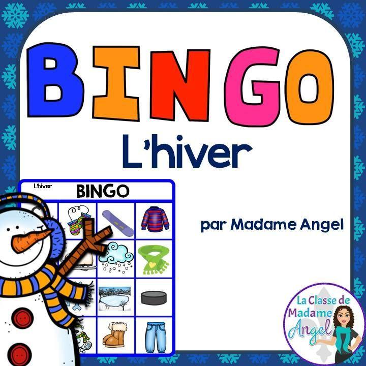 L\u0027hiver Winter Themed Bingo Game in French Bingo games, French
