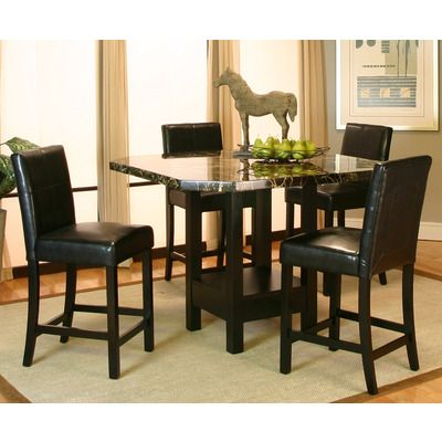 Cramco 5 Piece Square Black Faux Marble Counter Height Table Set