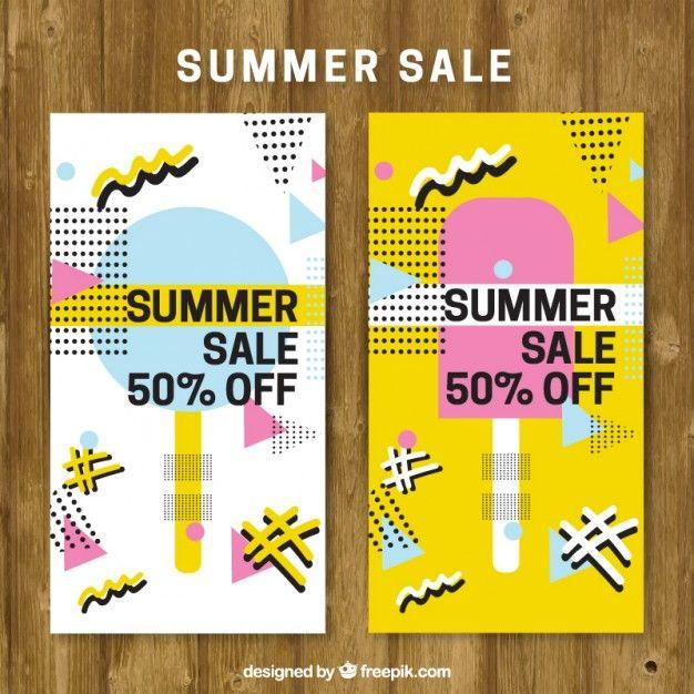 Summer sale brochure in memphis style Free Vector | Freebies ...