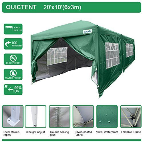 Quictent Waterproof 20x10 Ez Pop Up Canopy Gazebo Party Tent Carport Folding Frame Ez Set Up Styple Sides Removable With Roller Bag Tent Party Tent Hiking Tent