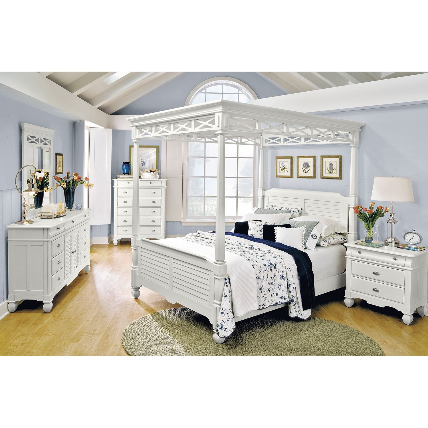 Coveted Choice. Our Plantation Cove White Canopy Queen bed is fresh ...