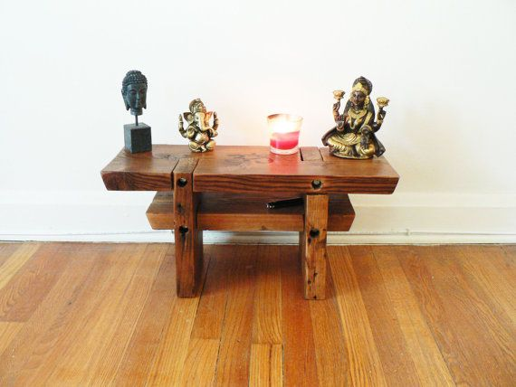 Handcrafted Meditation Altar made from 100% reclaimed wood. Rustic Modern  Furniture. Salvaged wood