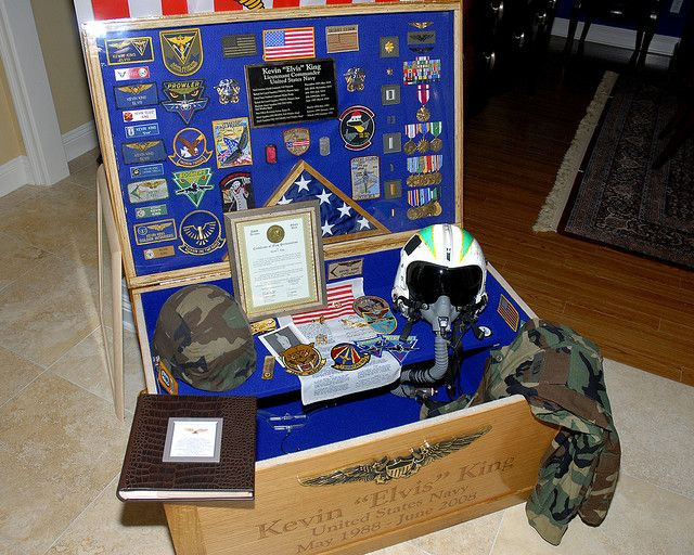 US Navy Retirement party 2008, sea chest shadow box ...