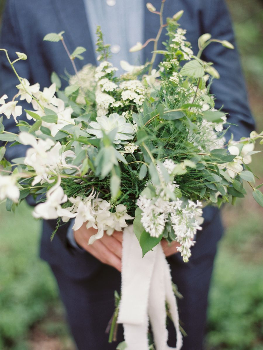 A loose and organic white bouquet: http://www.stylemepretty.com/2016/06/20/steal-the-look-morgan-stewarts-glam-all-white-wedding/