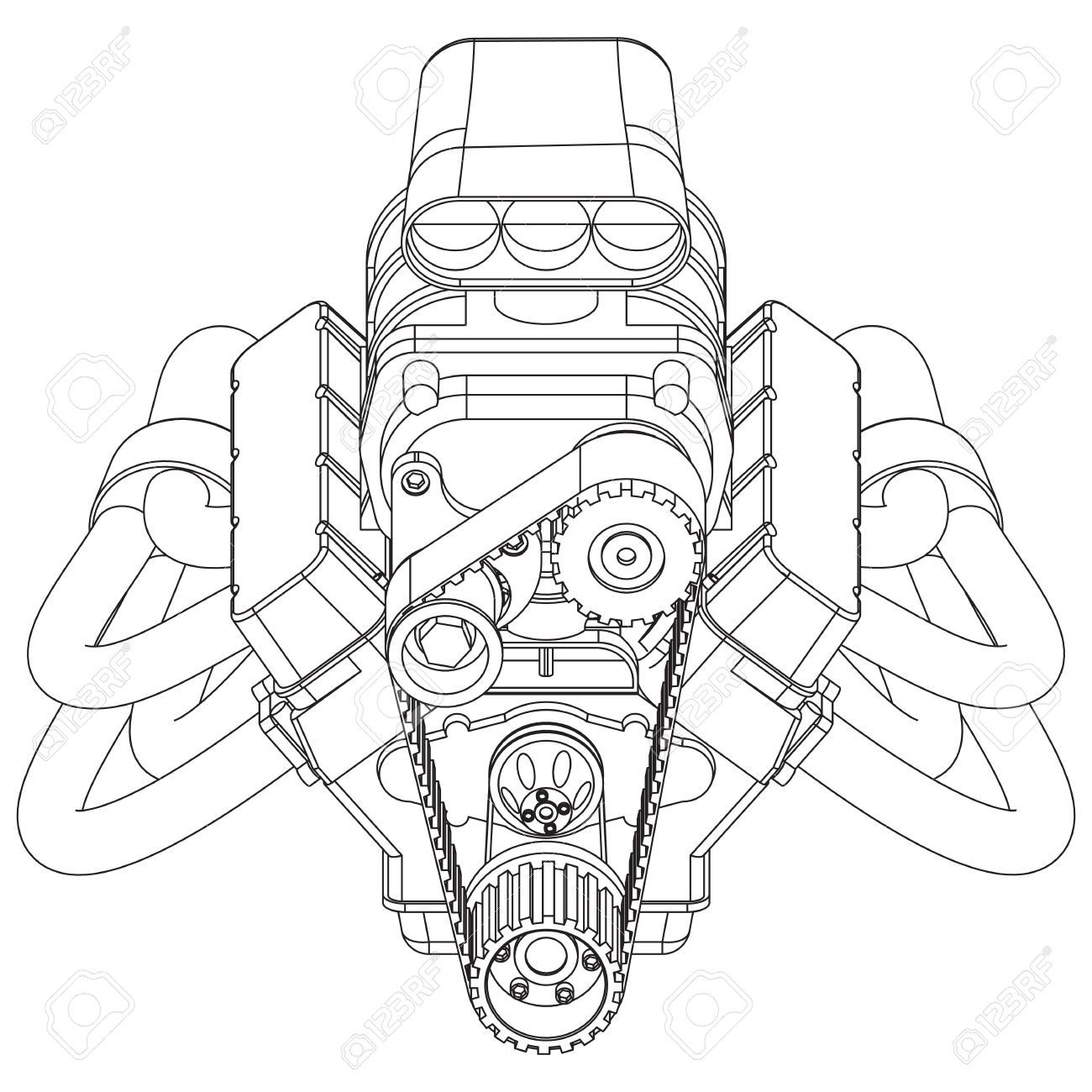 Schematic Drawing Of Hot Rod Engine Vector Illustration
