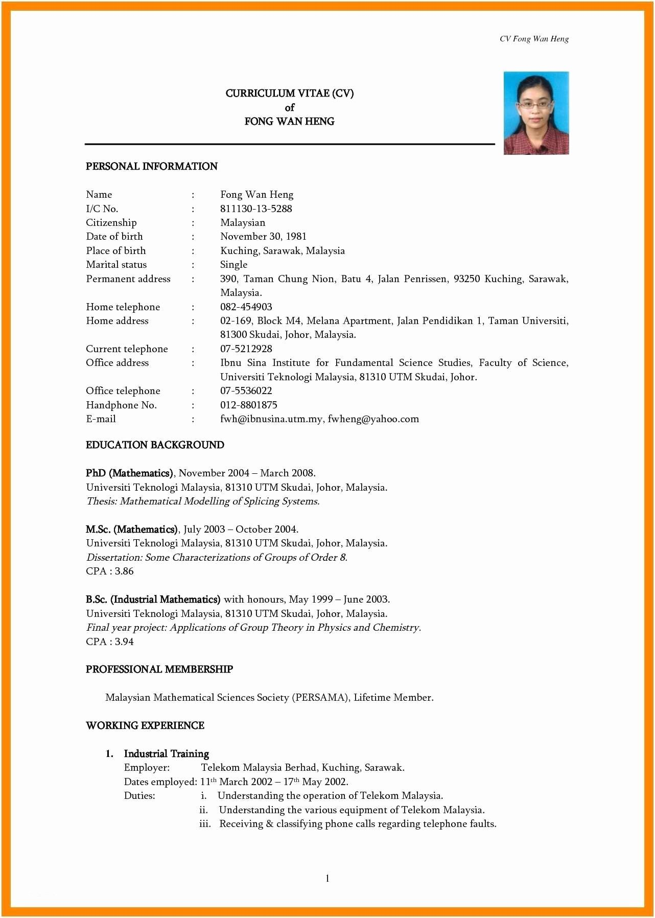 The Simple Format Of Resume For Job Simple Format Of Resume For