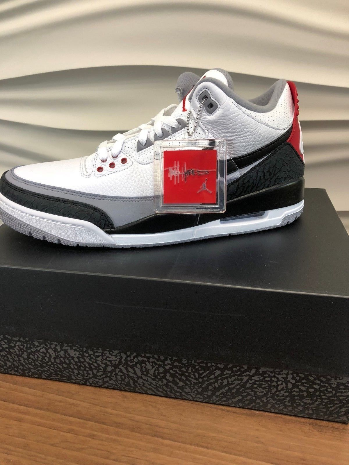Jordan Air Jordan 3 Retro Tinker Hatfield US Men s 12 White Black-Fire Red 470f46733