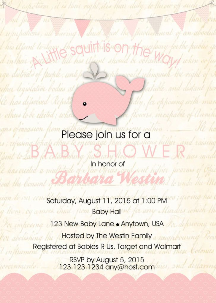Little Squirt Baby Shower Invitation Template Baby Whale Baby Shower ...