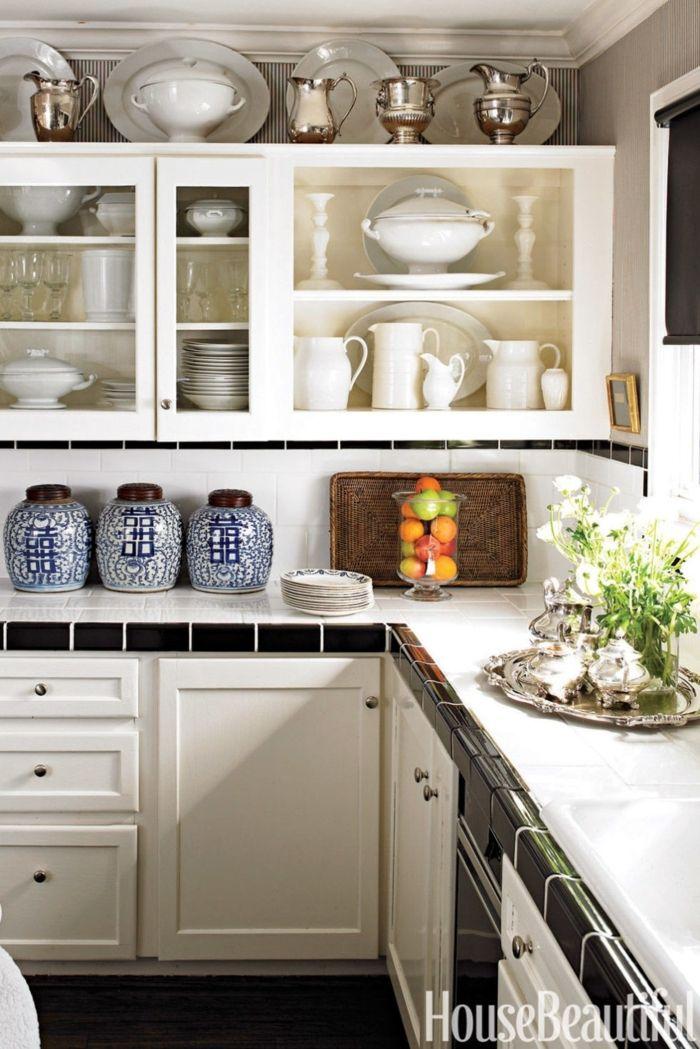 como diseñar una cocina, estantes con vitrinas de vidrio, muebles de ...