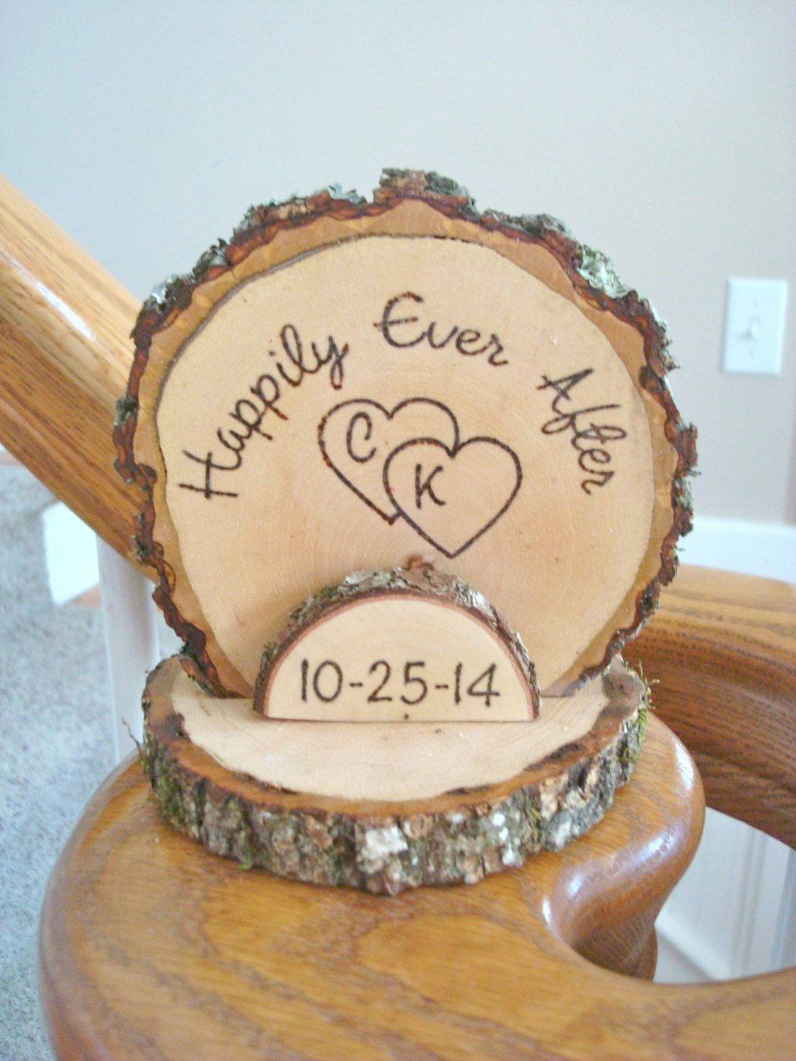 Happily ever after cake topper rustic wedding cake topper custom