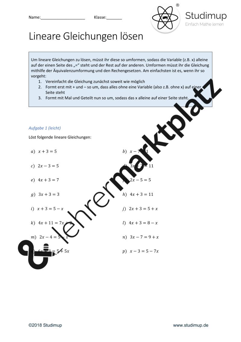 Arbeitsblatt zum lösen von linearen Gleichungen (mit Lösung ...
