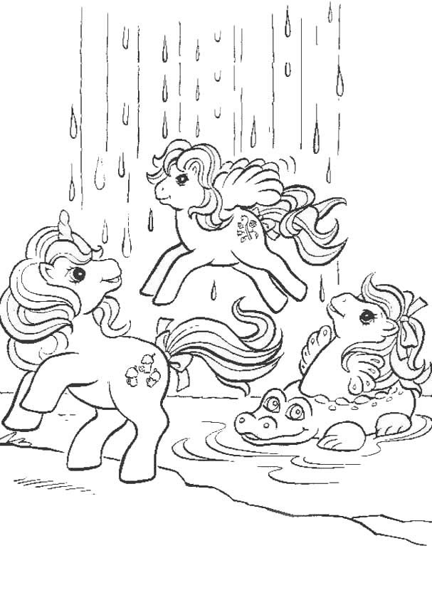 Ponies And Waterfall Coloring Page
