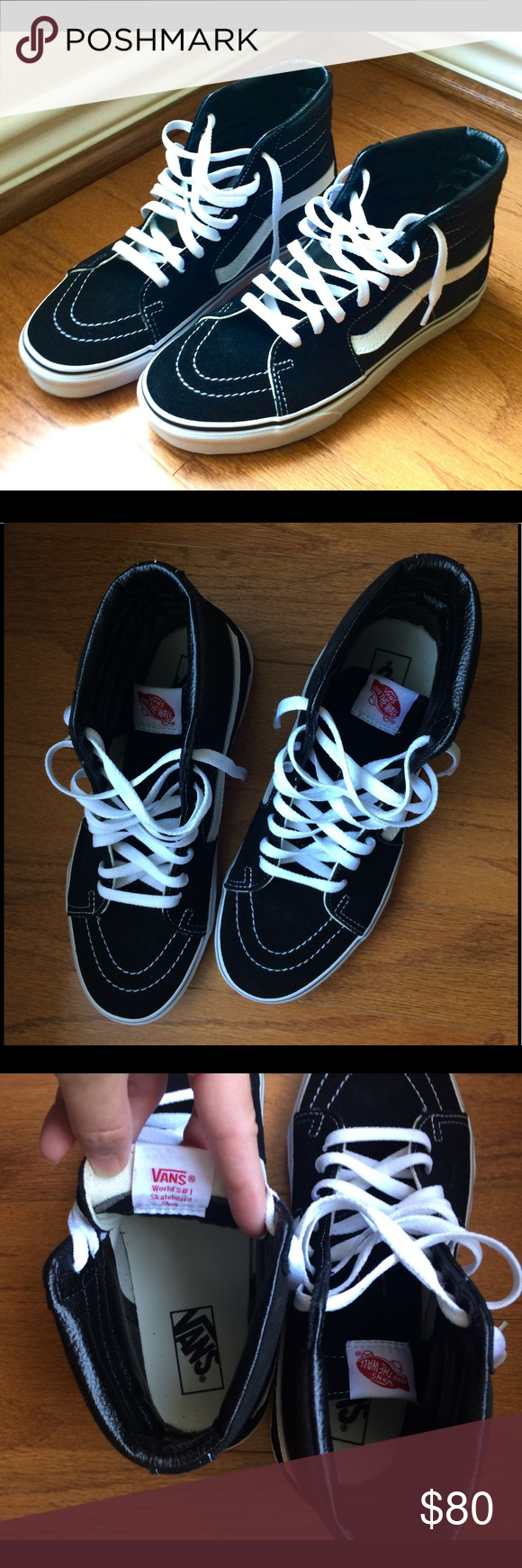840b50ebf6e1f0 Vans High Tops Black and White Shoes Size 9 Women Vans High Tops Black and  White Shoes Size 9 Women Worn only 1-2 times No flaws No stains