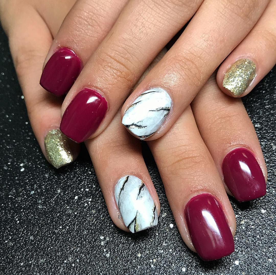 Burgundy coffin nails with marble and glitter nail art gel nails ...