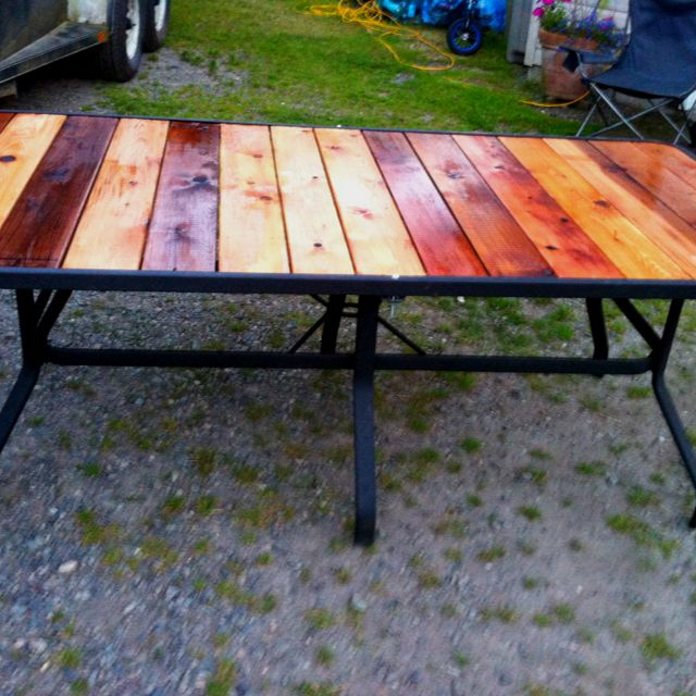 the glass broke out of this old patio table so we turned into a cedar top super easy. Black Bedroom Furniture Sets. Home Design Ideas