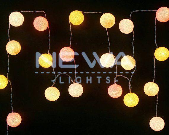 20 Pastel White Pink Beige Cotton Ball Fairy Lights String Lights
