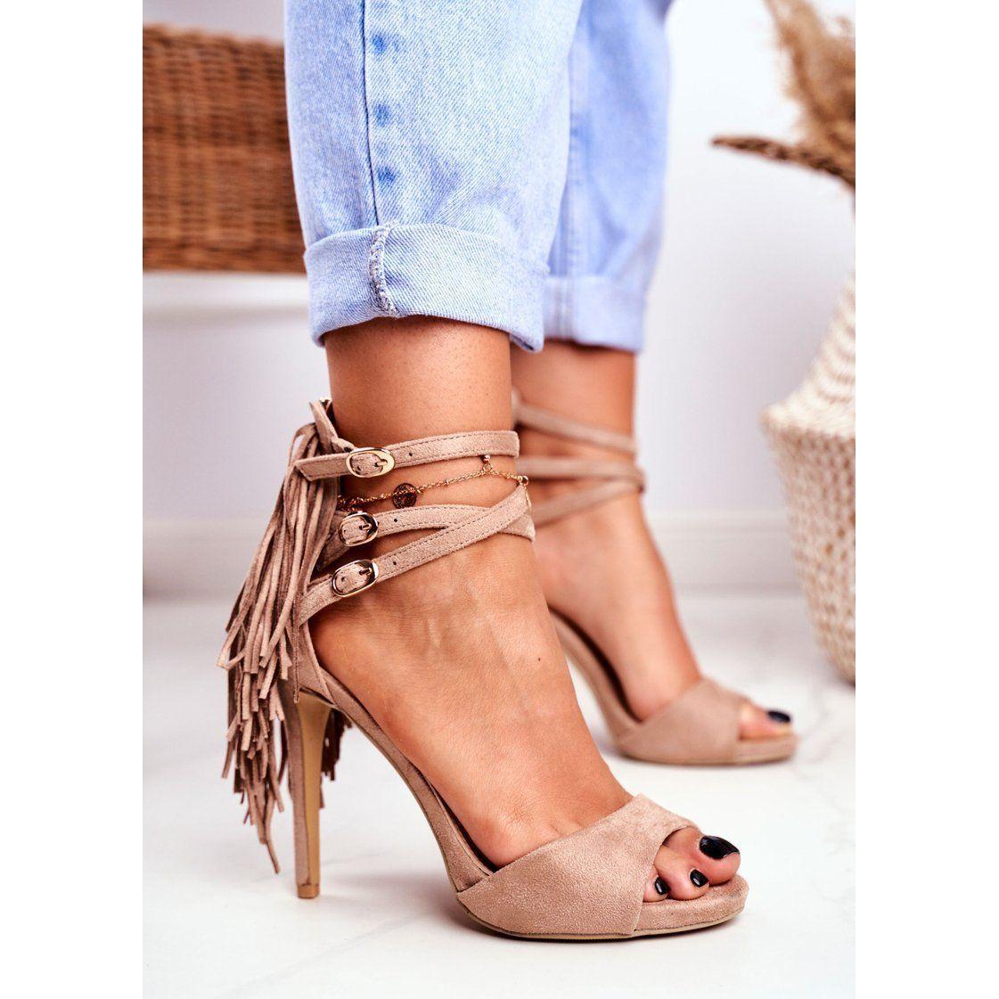 Lu Boo Sandaly Damskie Na Szpilce Gladiatorki Bezowe Carnival Bezowy Heels Stiletto Heels Stiletto