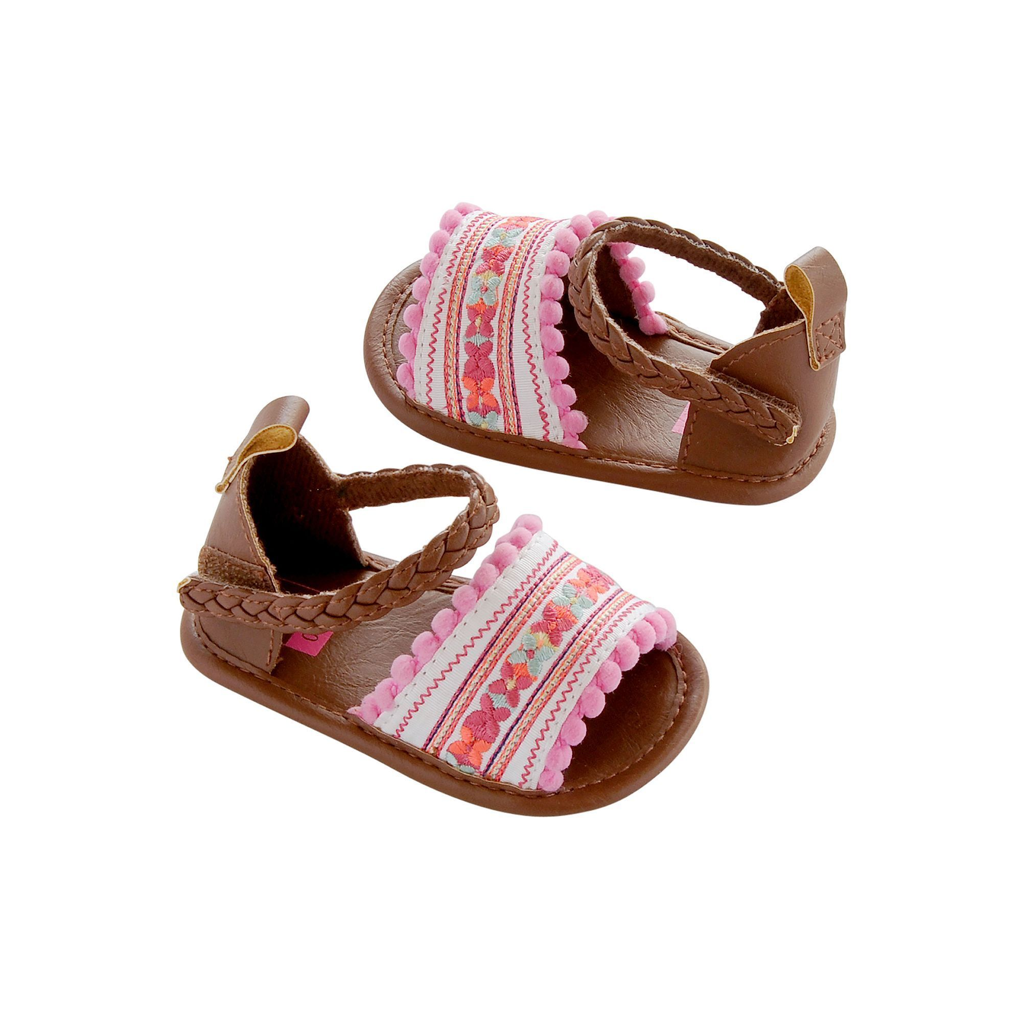 Baby Girl Carter s Embroidered Espadrille Crib Shoes Pink